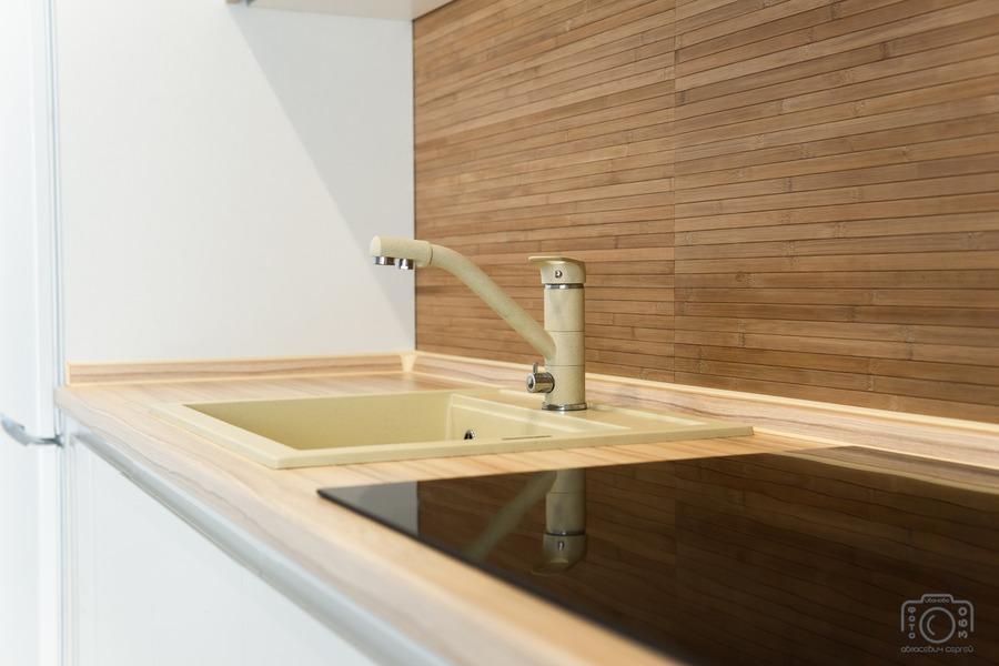 Белый кухонный гарнитур-Кухня МДФ в эмали «Модель 5»-фото9