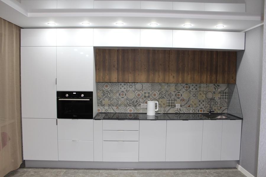 Белый кухонный гарнитур-Кухня из пластика «Модель 432»-фото1