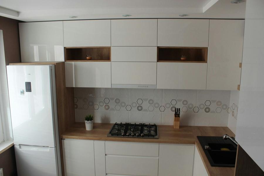 Белый кухонный гарнитур-Кухня из пластика «Модель 87»-фото2