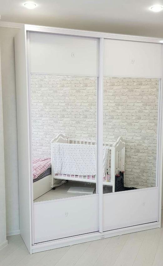 Белые шкафы-купе-Шкаф-купе с зеркалом «Модель 289»-фото1