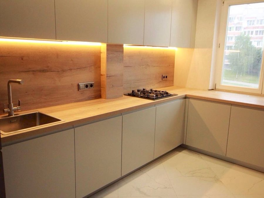 Бежевые кухни-Кухня МДФ в эмали «Модель 661»-фото2